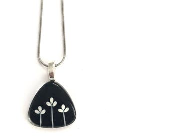 Black floral bud necklace | minimalist and modern | stainless steel chain | handpainted glass by azurine