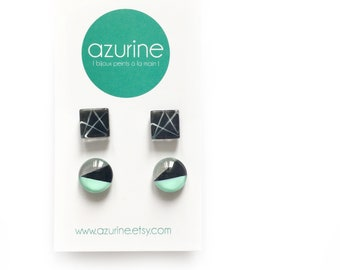 Black and mint earring set | Minimalist and modern | handpainted glass by azurine