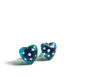 Teal heart earrings | polka dots | post earrings | handpainted by azurine