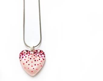 Pink confetti heart necklace | modern and minimalist | on stainless steel chain | handpainted glass by azurine