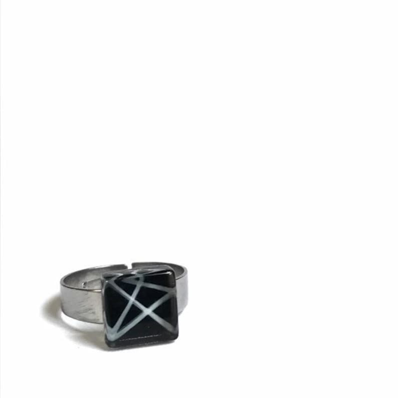 ajustable stainless steel Black and white ring minimalist handpainted glass by azurine
