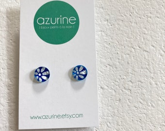 Blue flower earrings | surgical steel | hand painted by azurine | fait au Québec