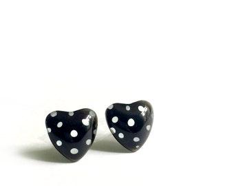Heart earrings, black earrings,  polka dots, post earrings, surgical steel, handpainted glass, azurine