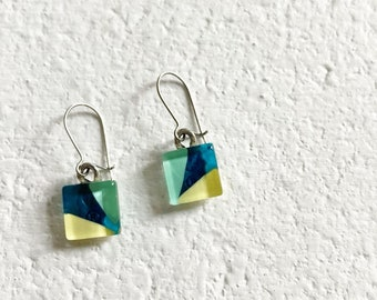 Funky dangle earrings | mint teal yellow earrings | modern abstract | stainless steel | handpainted glass by azurine | MADE IN QUÉBEC