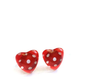 Heart earrings, red earrings,  polka dots, post earrings, surgical steel, handpainted glass, azurine
