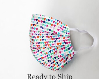 Kids Rainbow Hearts and Dots Face Mask