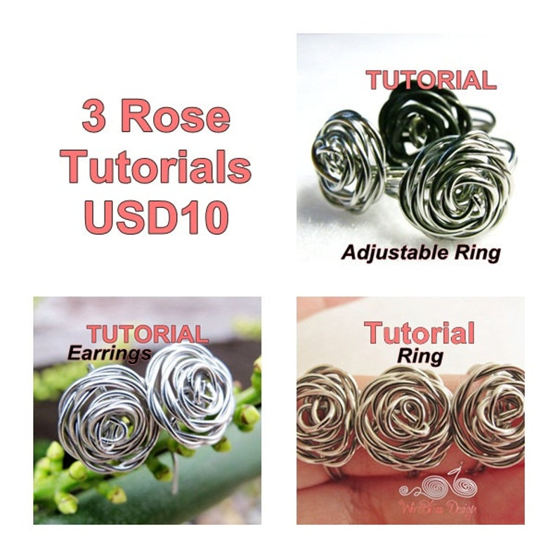 WIRE JEWELRY TUTORIAL Package  3 Rose's Tutorials for image 0