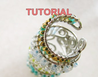 WIRE JEWELRY Tutorial - Adjustable Wire Wrapped Ring (Seed Beads) PDF