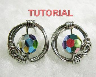 WIRE JEWELRY TUTORIAL - Sparkly 'O' Studs - Athena's Shield (Earrings)