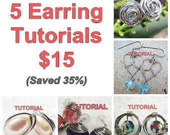 WIRE JEWELRY TUTORIAL - Earring Tutorials (5) Package