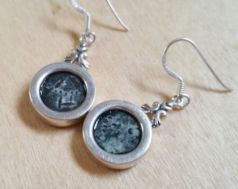 Antique real widow's mite coins set in silver earrings- christian jewelry gift