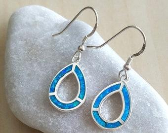 e78987cdd Blue Opal dangle earrings, teardrop silver earrings, opal drop earrings, fire  opal long earrings, october birthstone, opal Israeli jewelry