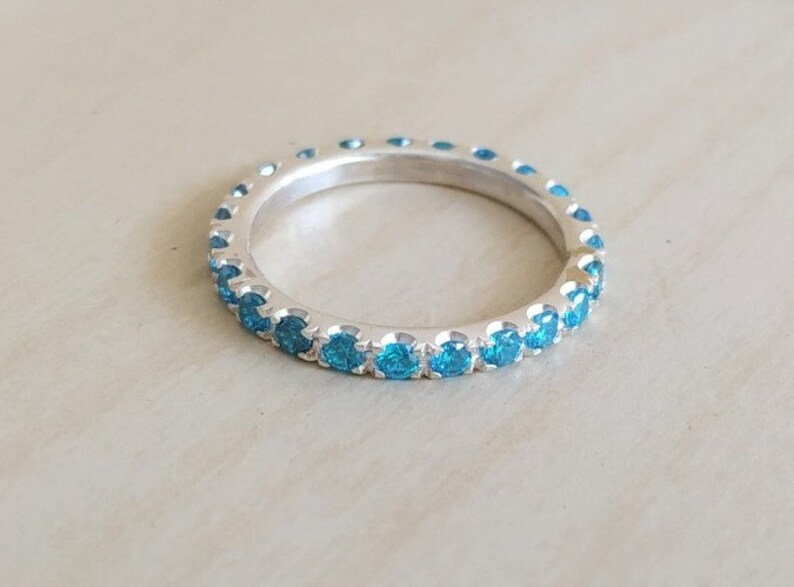engagement band sky blue sterling silver Stacking Ring Blue Topaz FULL eternity band December Birthstone CZ eternity ring 2.2 mm band