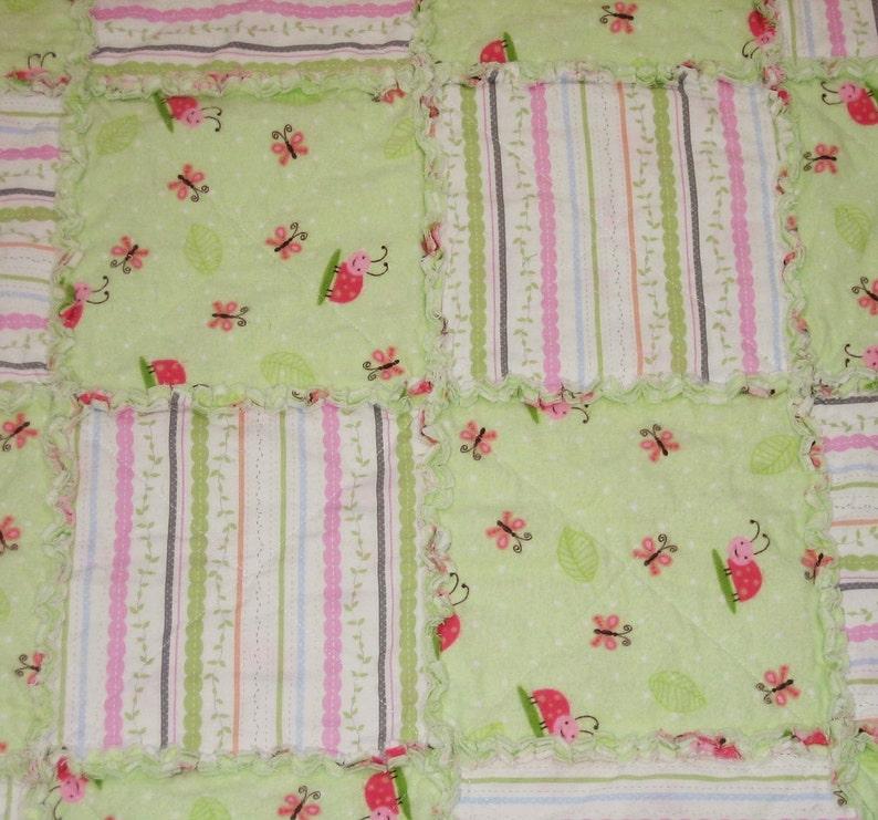 Rag Quilt Baby Blanket Pink Green