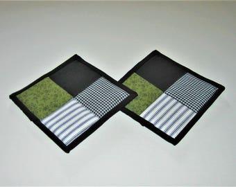 Hot Pads Black White Olive Green (Set of 2)