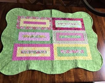 Quilt Table Runner Green Pink