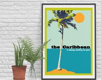 Art Print - Caribbean Poster - Vintage poster - Giclée - Art Print A3 The Caribbean