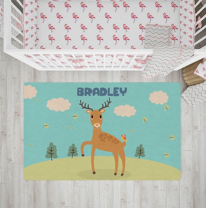 Nursery rug Personalized Rug kids rug woodland animal rug image 0