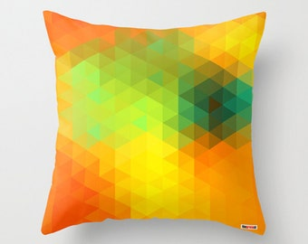 Decorative pillow cover - Colorful pillow cover - Geometric pillow - Yellow pillow - Modern pillow