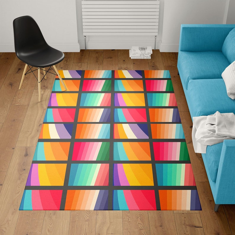Modern rug geometric rug designer rug  Colorful Rug image 0