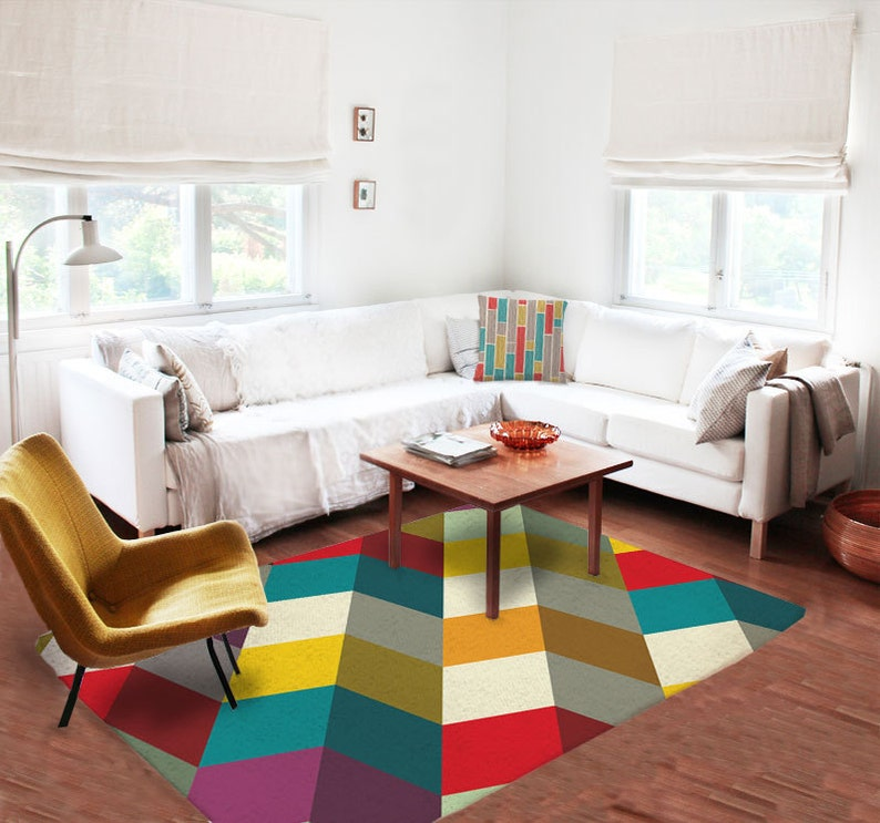 Colorful rugs, Modern rug, geometric rug, Decorative, for living room, 5x8  rug, carpet, contemporary, designer, gift for architect,