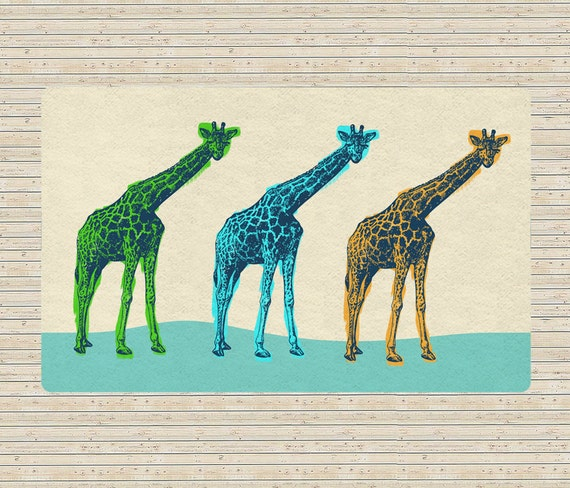Giraffes Rug Modern Area Rug Cool Accent Rugs Decorative Etsy