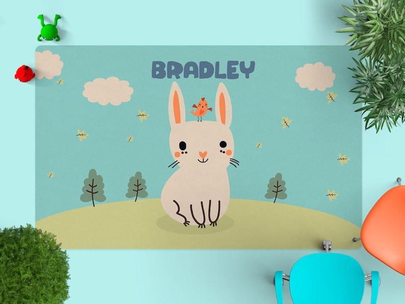 Rug in Nursery Rabbit Nursery rugPersonalized Rug kids image 0