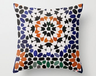 Moroccan pillow cover, Morocco Cushion, Mosaic pattern, African decor, Moroccan decor, tribal bedding, boho decor, colorful, gift for her