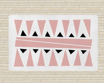 Geometric rug, Pink and white rugs, accent rug, living room rugs, 5x8 rug, modern rugs, carpet, contemporary rugs, designer rug, bedroom rug