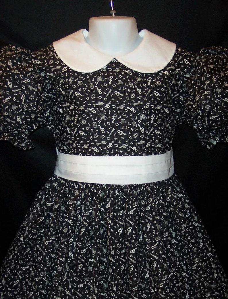Gorgeous Black Music Notes Recital Dress Custom Girls Size