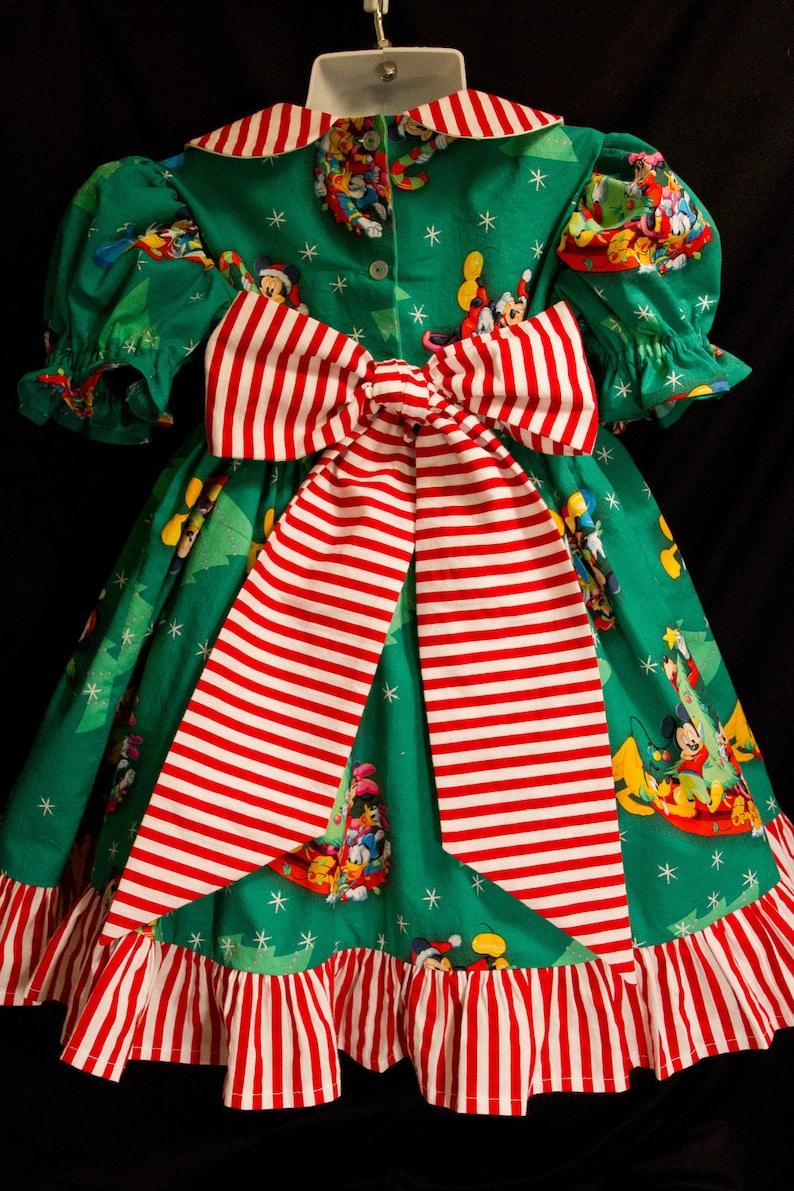 MICKEY on GREEN DELUXE Christmas Dress Disney Custom Size