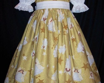 STUNNING Sparkly GOLDEN Angels Allover CHRISTMAS Dress
