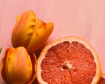 Citrus 1, food photography, fruit, kitchen wall art, whimsical happy still life photograph, pink art print, orange, tulip, colorful decor