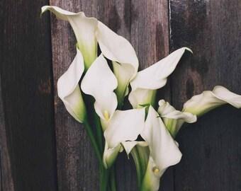Calla lily . spring art . rustic decor . gray white . cottage decor . romantic . fine art print . elegant . rustic wedding . summer art