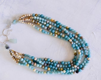Five Strand Aqua Stone Necklace
