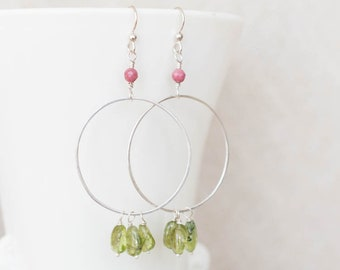 Peridot Hammered Circle Hoops