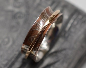 1/4 inch wide copper & argentium silver mokume gane spinner ring with wire spinning band - size 7 - ready to ship
