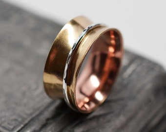3/8 inch wide copper lined brass spinner ring with sterling silver wire spinner - size 7.75 - ready to ship