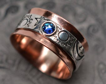 Sun, moon & stars textured celestial copper, sterling silver, and Swarovski crystal spinner ring worry ring fidget ring