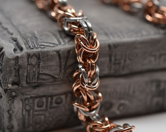 Bronze & square stainless steel modified mixed byzantine chunky chainmaille bracelet - ready to ship