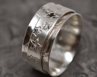 Sun, moon & stars celestial textured dual finish celestial solid sterling silver spinner ring