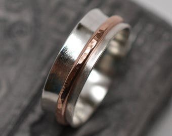 1/4 inch wide dual finish argentium sterling silver & 14k gold filled wire bands spinner ring worry ring fidget ring