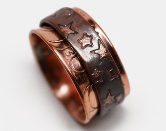 Sun, moon & stars textured oxidized celestial solid raw copper spinner ring