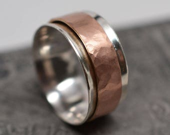 Wide sterling silver and hammered rose gold filled spinner ring worry ring fidget ring - ready to ship