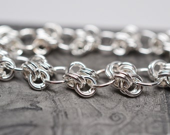 SALE 25% OFF - Twisted path sterling silver filled chainmaille bracelet
