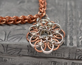 Braids and Flowers copper and silver chainmaille necklace