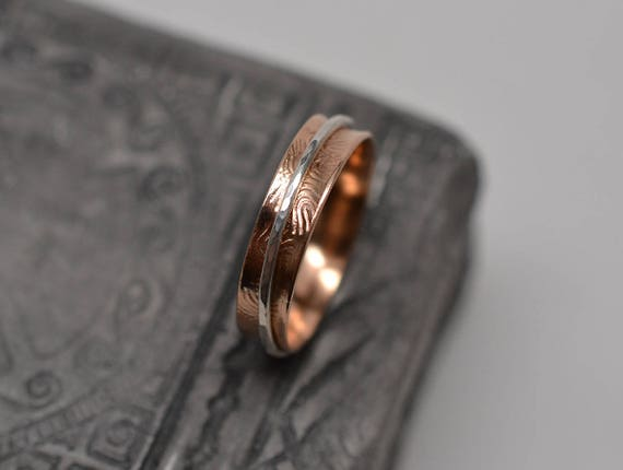 Fine Silver Raw Copper Spinner Ring