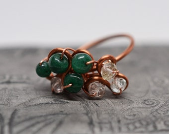 Emerald, pale aquamarine & raw copper wirework cluster cocktail ring - size 5 - ready to ship