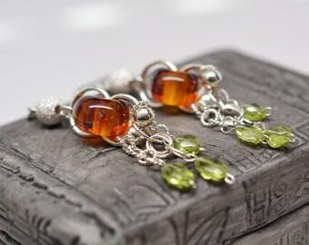 Sterling silver, peridot & boro glass chainmaille dangle earrings