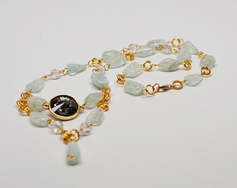 Aquamarine, crystal & vermeil chainmaille v-shape necklace